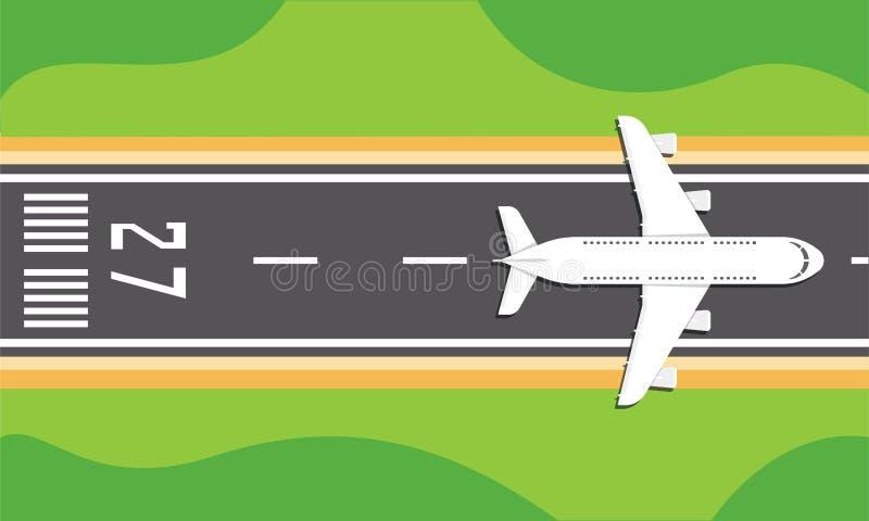 Avião em uma pista de decolagem ilustração do vetor