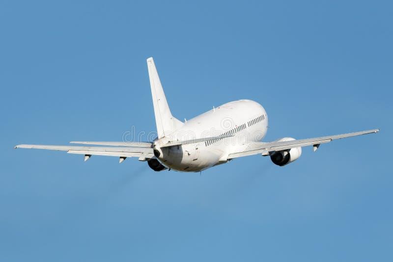 Avião estreito branco do jato do corpo foto de stock
