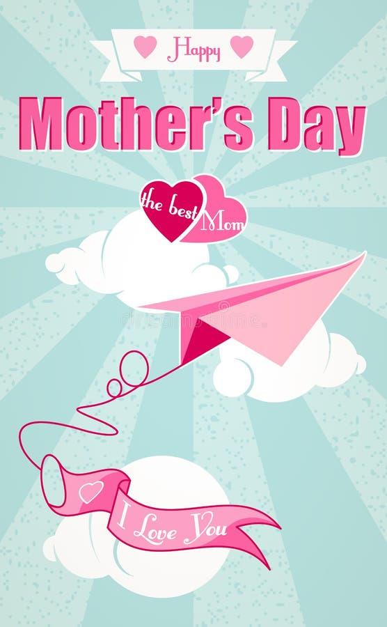 Avião feliz do dia e do origâmi de mães ilustração do vetor