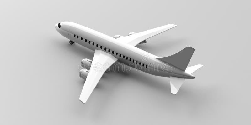 Avião isolado na luz - fundo cinzento, vista de cima de ilustração 3D ilustração royalty free