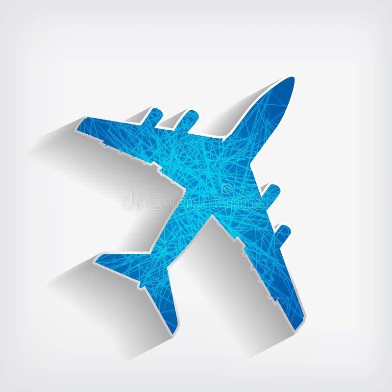 Avião listrado em um fundo cinzento ilustração royalty free