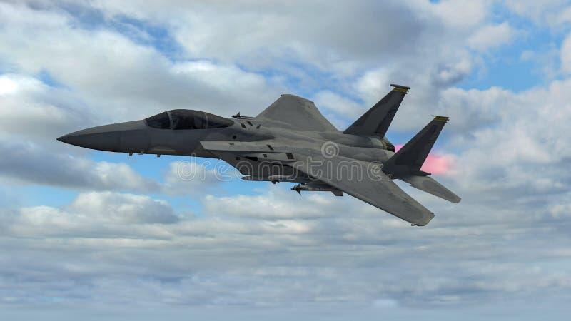 Avião militar em voo equipado com os mísseis, instalação do combate Modelos da águia F-15 ilustração royalty free
