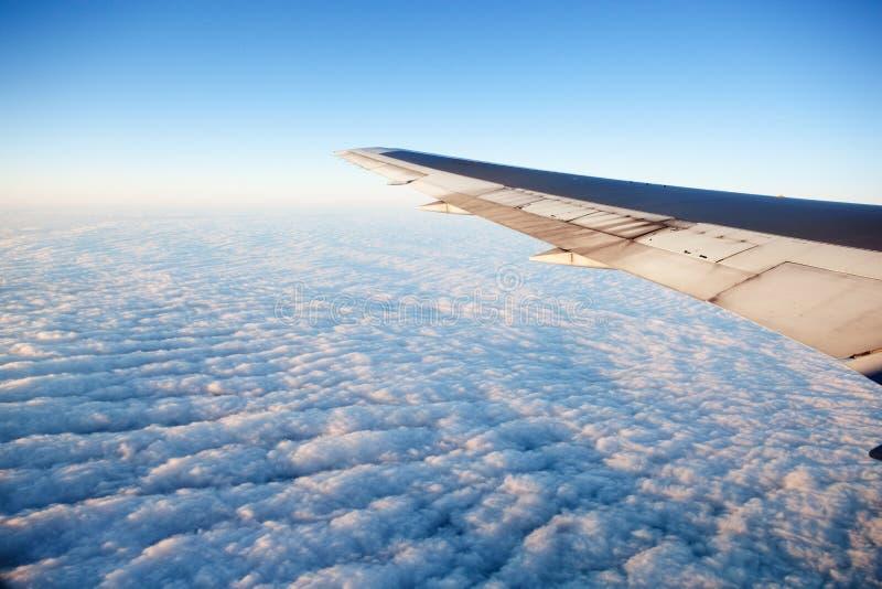 Avião na asa fotografia de stock