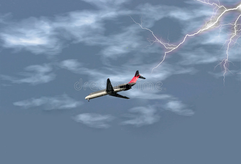 Avião na tempestade foto de stock royalty free