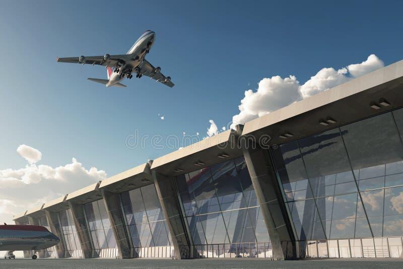 Avião no aeroporto ilustração royalty free