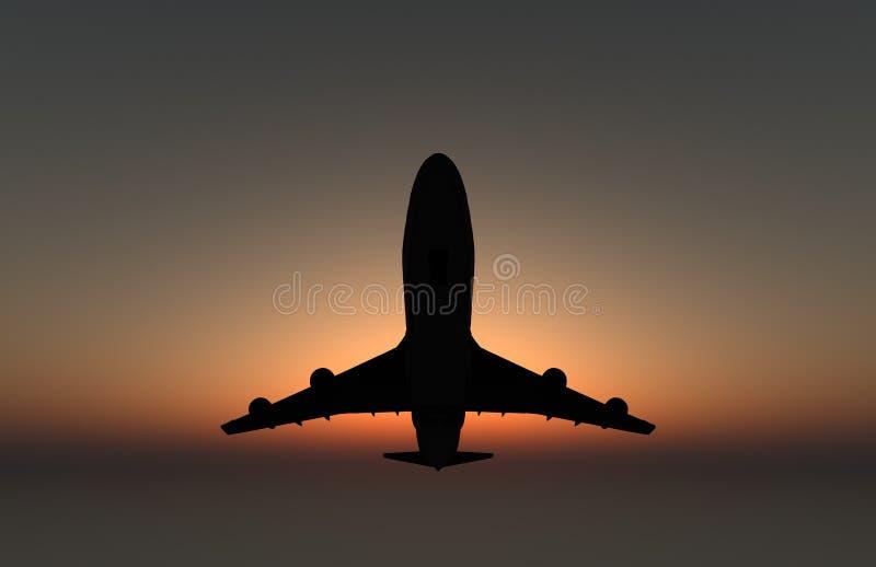 Avião no por do sol foto de stock