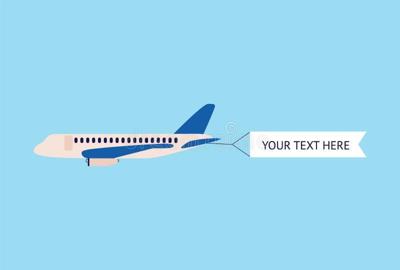 Avião ou ilustração lisa de anúncio vazia plana do vetor da bandeira no azul ilustração royalty free