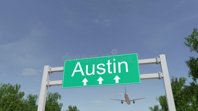 Avião que chega ao aeroporto de Austin Viagem à rendição 3D conceptual do Estados Unidos imagens de stock royalty free