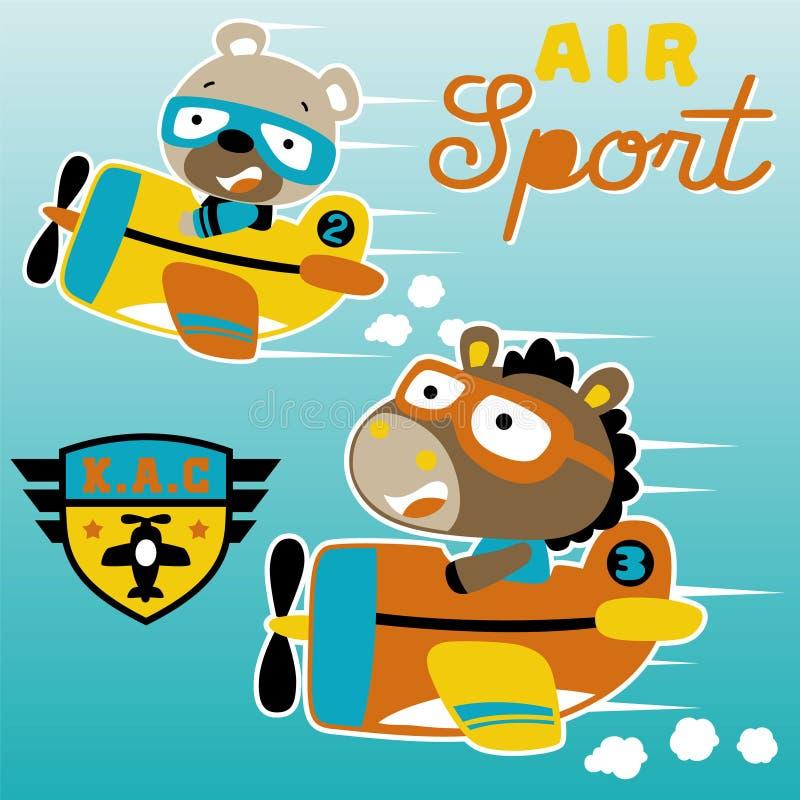 Avião que compete desenhos animados com piloto bonito ilustração royalty free