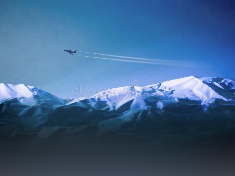 Avião que voa acima sobre montanhas nevado fotos de stock