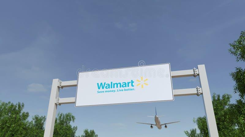 Avião que voa sobre o quadro de avisos de propaganda com logotipo de Walmart Rendição 3D editorial imagem de stock royalty free