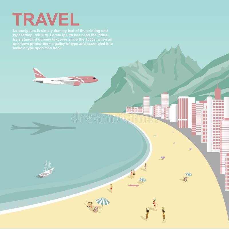 Avião que voa sobre a praia de Copacabana em Rio de janeiro ilustração royalty free