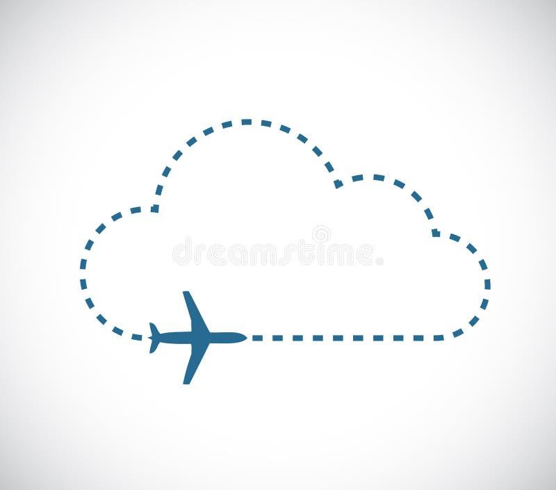 avião que voa sobre uma linha ilustrador do traço da nuvem ilustração royalty free