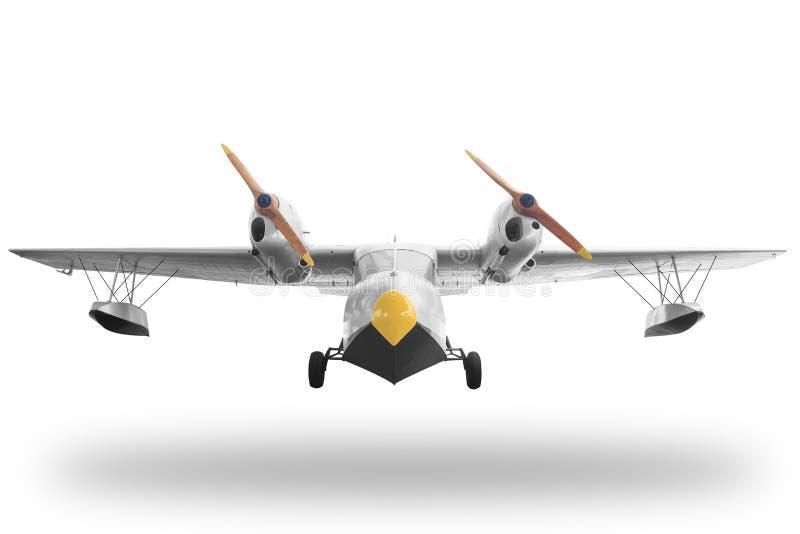 Avião retro clássico do amarelo do estilo isolado no fundo branco imagens de stock royalty free