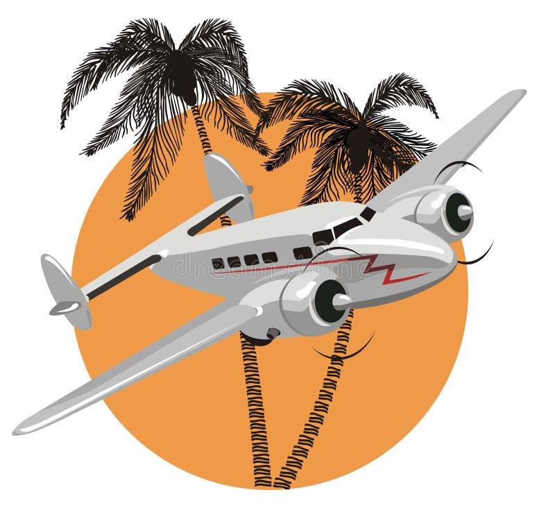 Avião retro dos desenhos animados do vetor ilustração stock