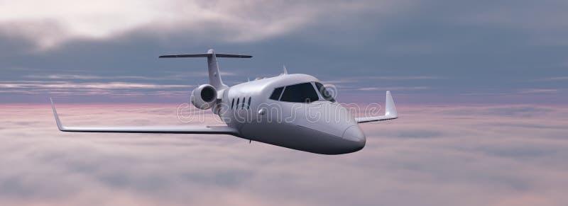 Avião sobre nuvens ilustração do vetor