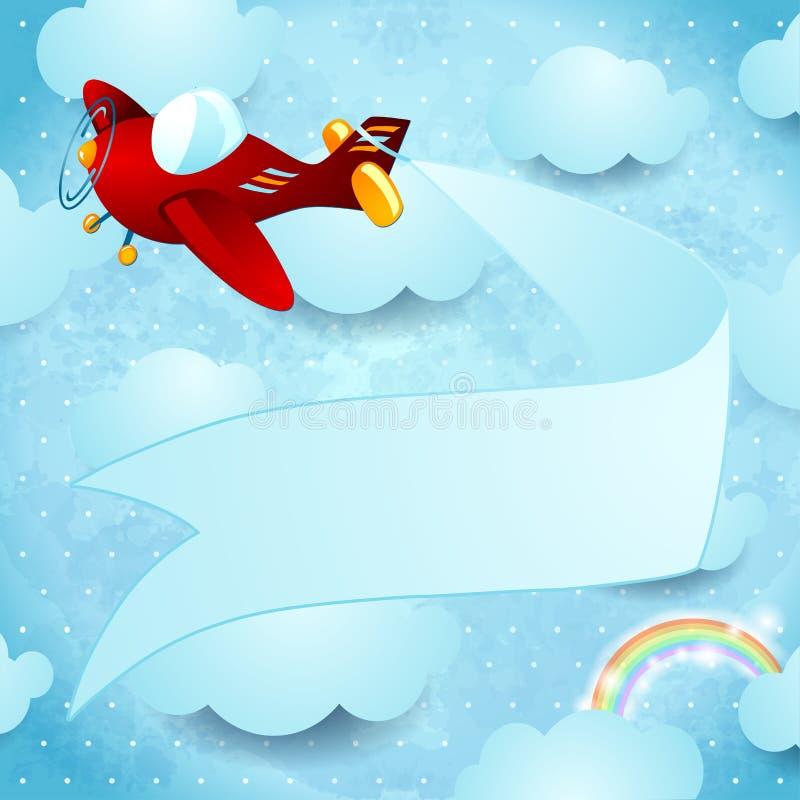 Avião vermelho com bandeira ilustração do vetor