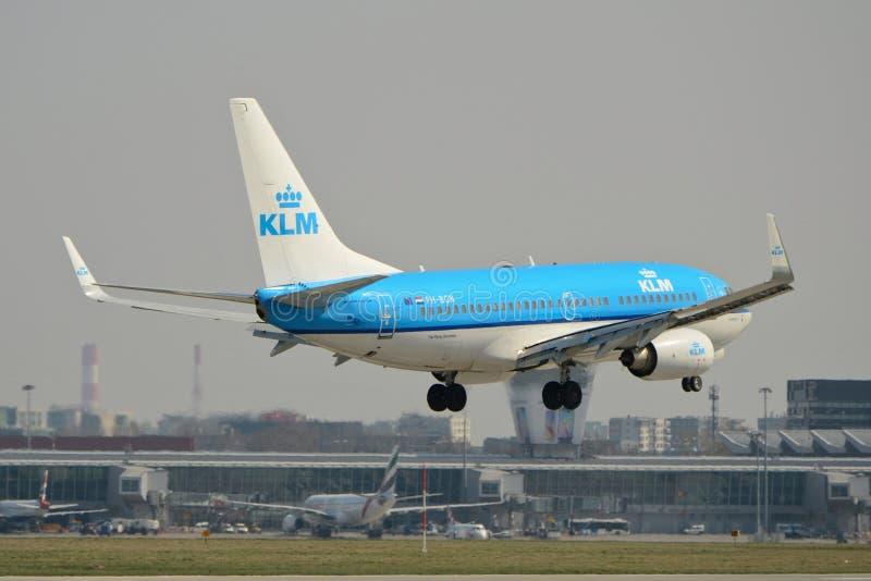 Avión Boeing 737-700 de KLM imagen de archivo