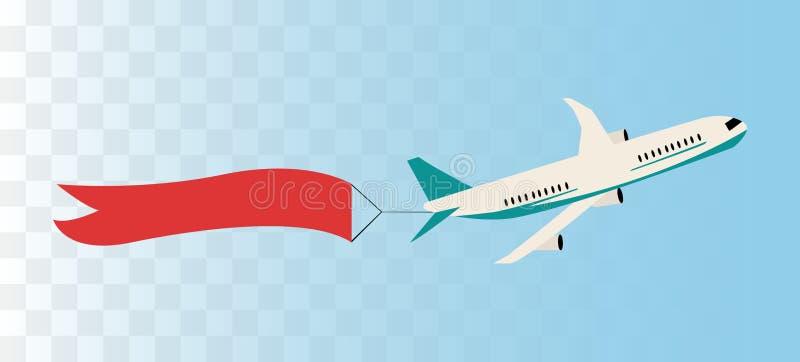 Avión con la bandera de la cinta libre illustration