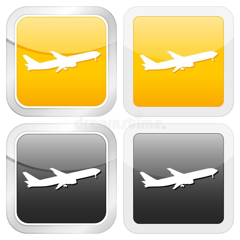 Avión cuadrado del icono stock de ilustración