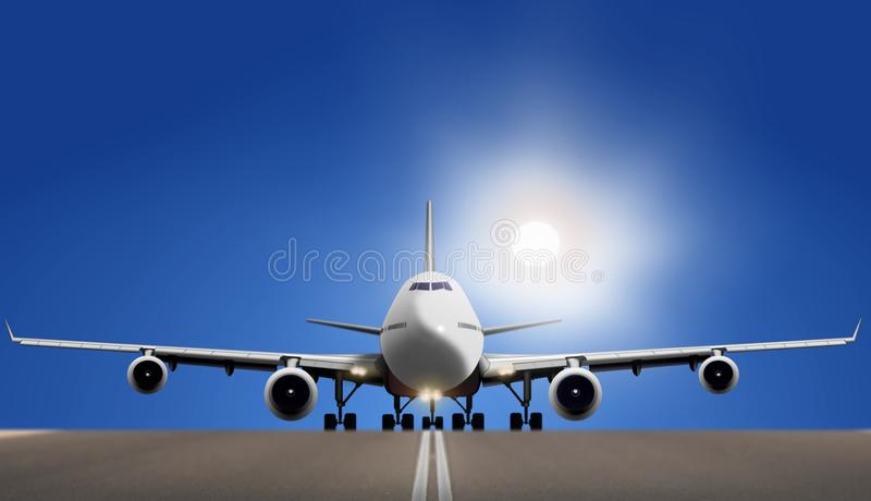 Avión de aire en pista con el sol brillante stock de ilustración