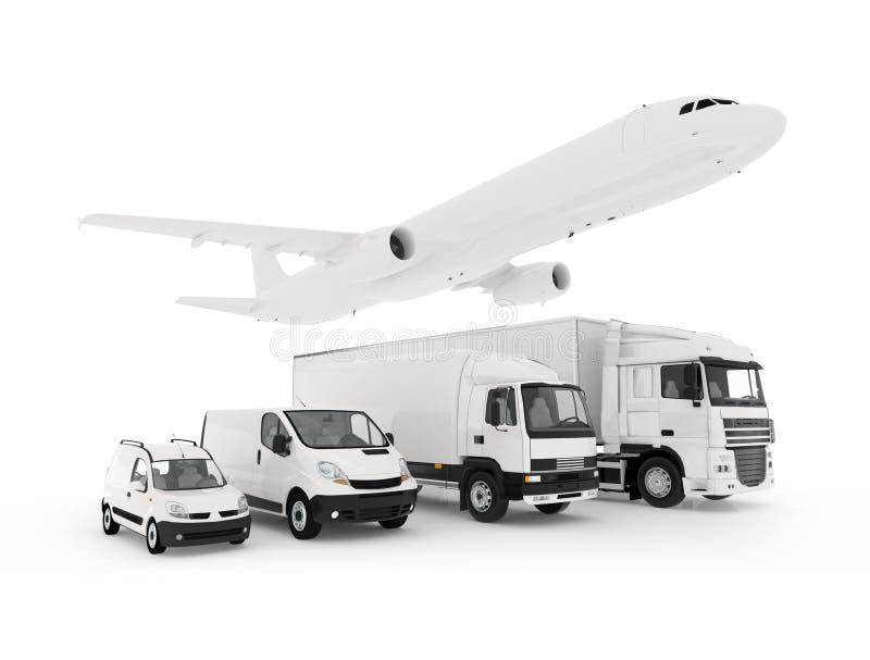 Avión de carga, camión, camión y coches de una entrega stock de ilustración