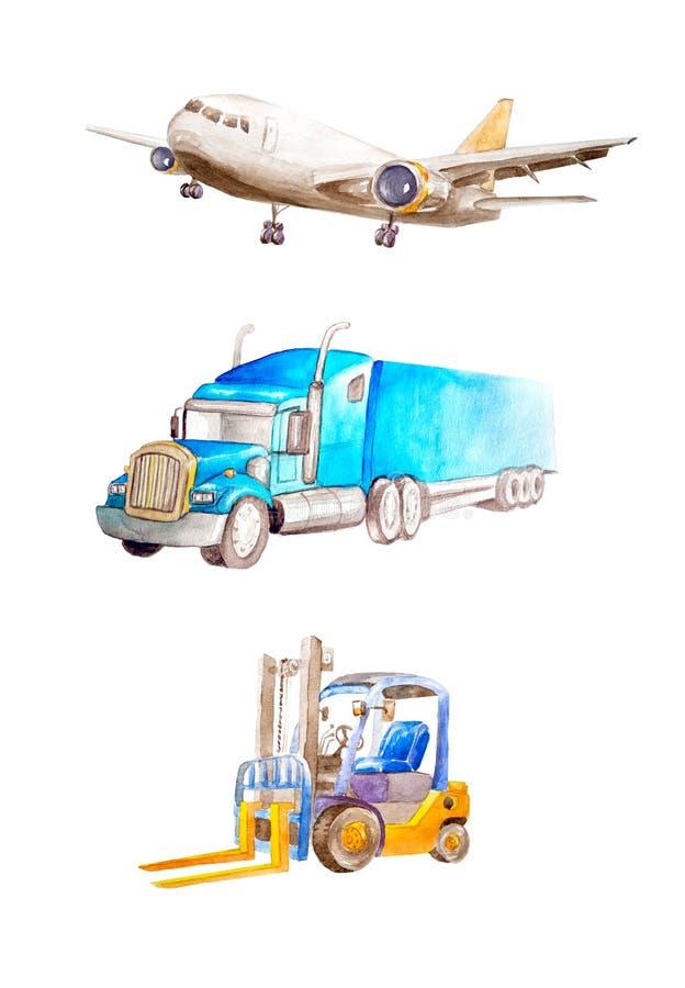 Avión de carga de la acuarela, remolque americano clásico y carretilla elevadora del camión del camión En un fondo blanco aislado ilustración del vector