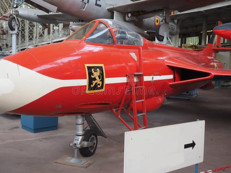 Avión de caza a reacción histórico del Vendedor-cazador editorial en la exhibición B foto de archivo libre de regalías