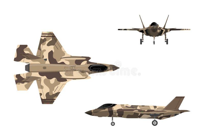Avión de combate Avión de la guerra en estilo plano Aviones militares en top, stock de ilustración