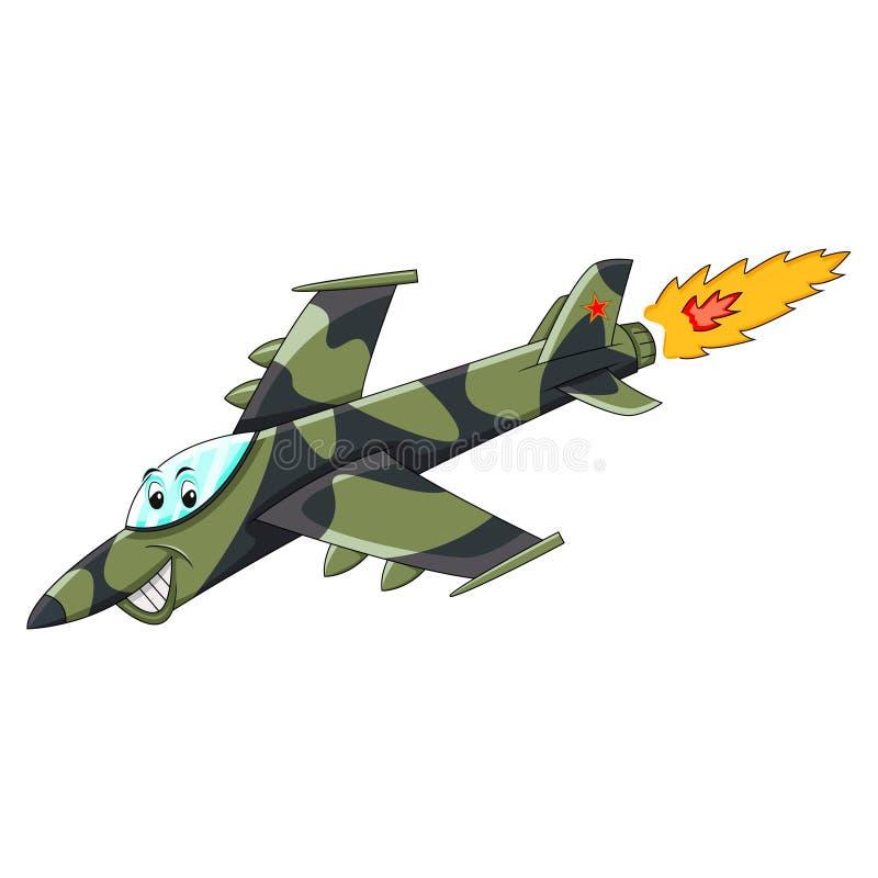 Avión de combate - ejemplo divertido plano del vector de la historieta ilustración del vector