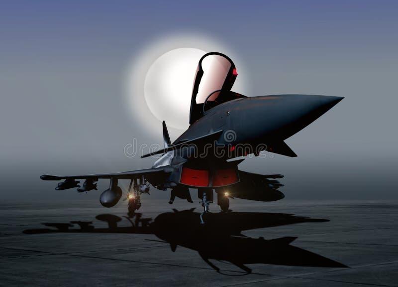 Avión de combate en la tierra en la noche libre illustration