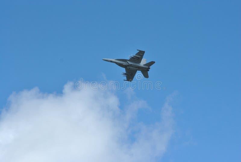 Avión de combate F-18 en Farnborough Airshow 2016 imagen de archivo