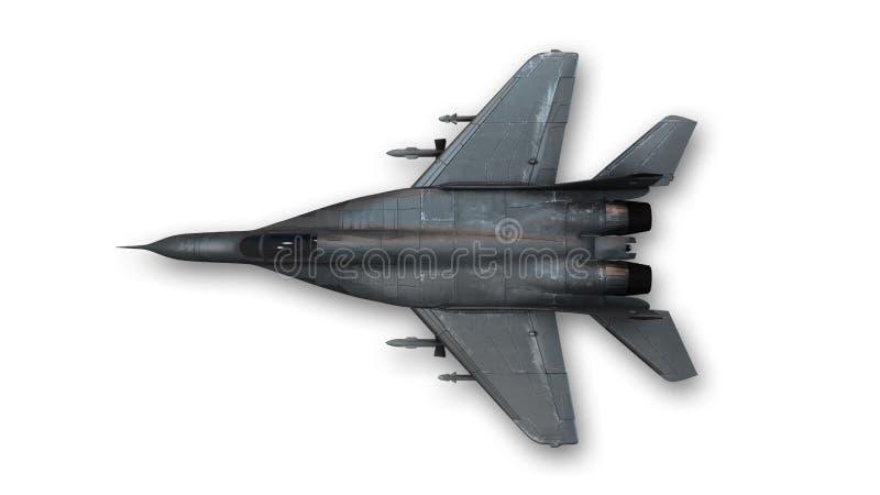Avión de combate táctico, avión militar, visión superior ilustración del vector