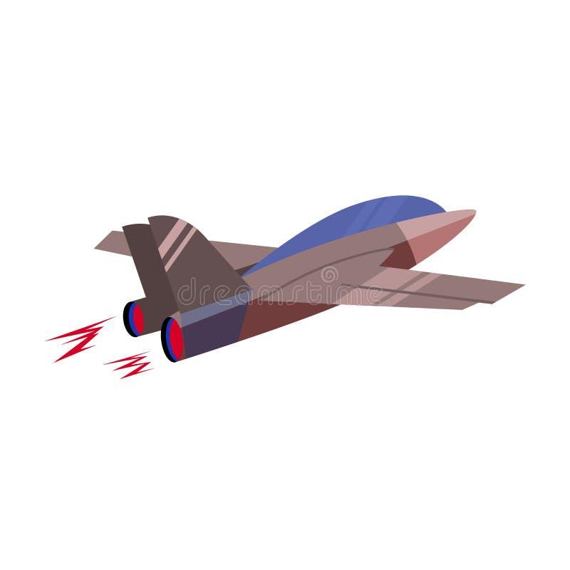 Avión de combate de vuelo rápido en el fondo blanco Icono de la historieta del vector stock de ilustración