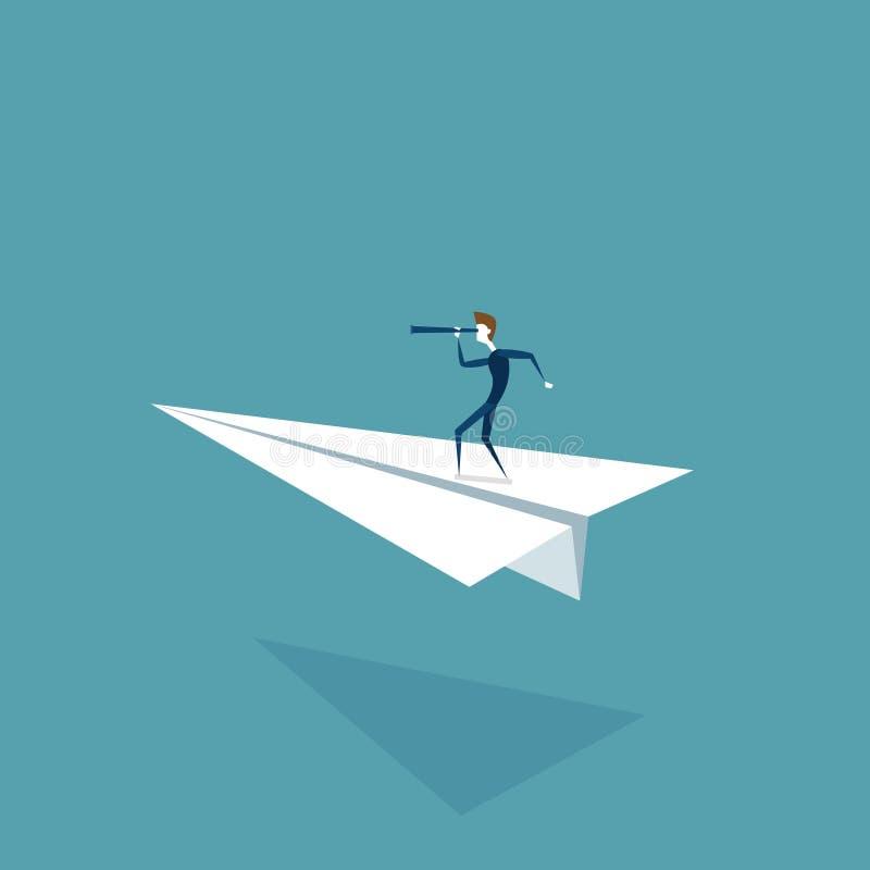 Avión de Flying On Paper del hombre de negocios que mira con binocular en concepto acertado del desarrollo del crecimiento futuro stock de ilustración