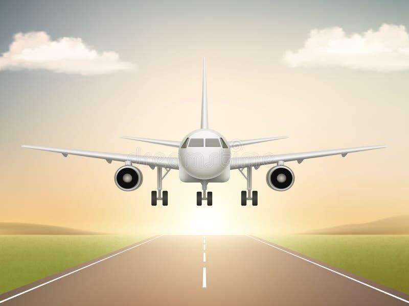 Avión de jet en pista Despegue de los aviones de la línea aérea civil a los ejemplos realistas del fondo del vector del cielo azu stock de ilustración