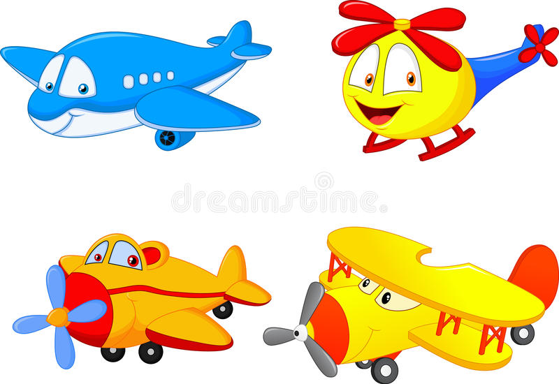 Avión de la colección de la historieta stock de ilustración