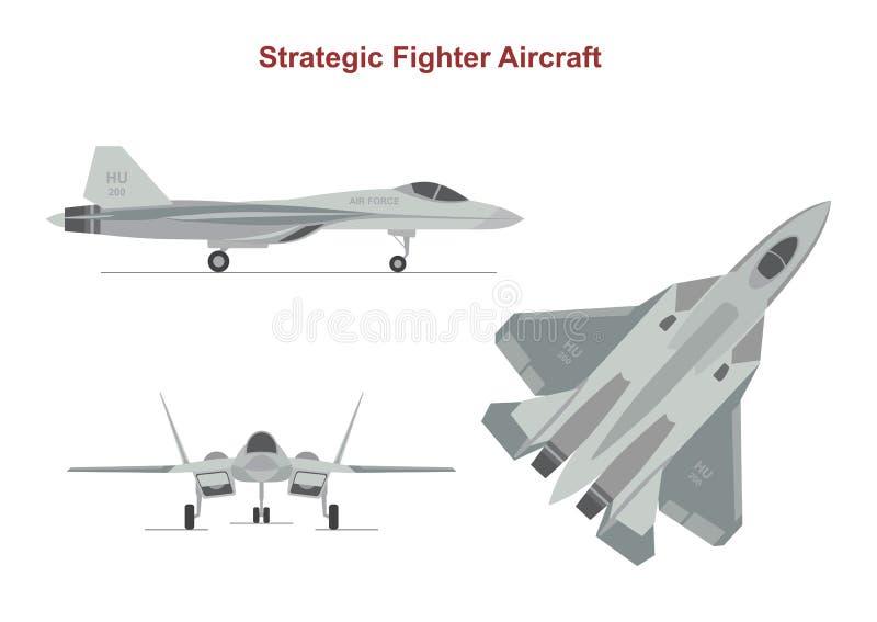 Avión de la guerra en el fondo blanco stock de ilustración