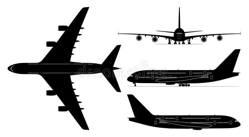 Avión de los pasajeros aislado - png ilustración del vector