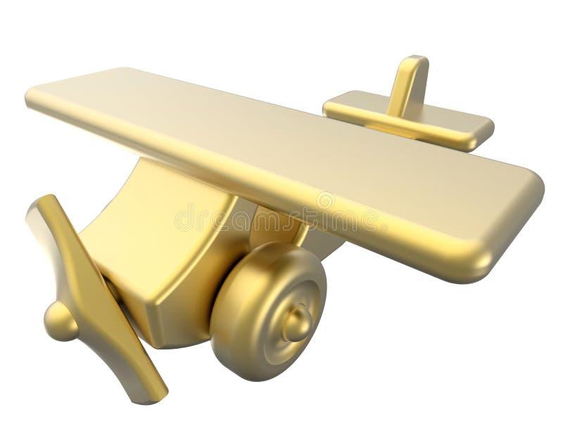 Avión de oro del juguete stock de ilustración