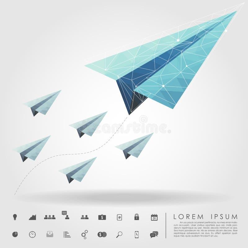 Avión de papel del polígono en concepto del líder con el icono del negocio ilustración del vector