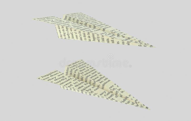 Avión de papel impreso Avión de las palabras ilustración 3D libre illustration