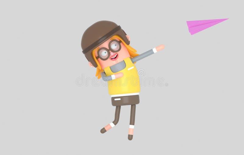 Avión de papel que lanza de la muchacha feliz ilustración 3D ilustración del vector