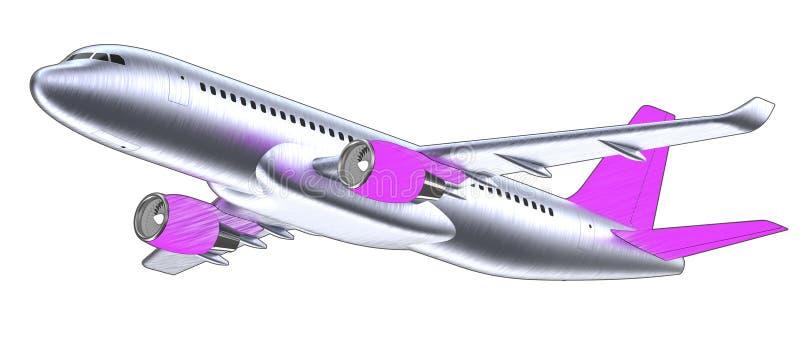 Avión de pasajeros blanco arriba detallado con un ala de cola púrpura, aislada en el fondo blanco El aeroplano saca, 3d aislado stock de ilustración