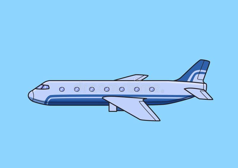 Avión de pasajeros comercial azul, avión, aeroplano Ejemplo plano del vector Aislado en fondo azul stock de ilustración