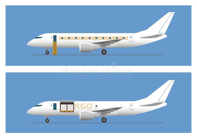 Avión de pasajeros del jet y aviones del cargo stock de ilustración