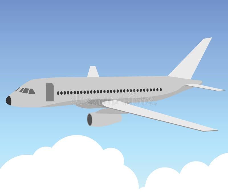 Avión de pasajeros en el cielo azul stock de ilustración