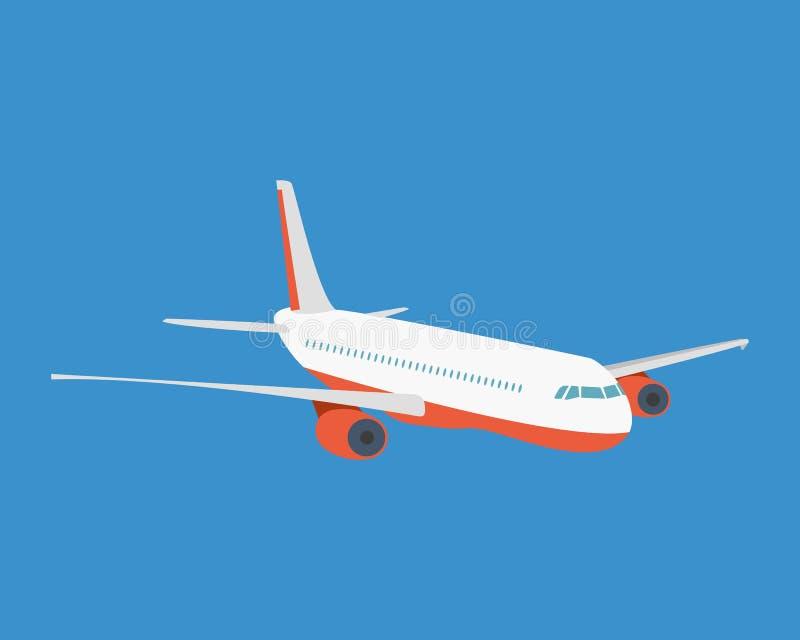 Avión de pasajeros moderno, en un fondo ligero stock de ilustración
