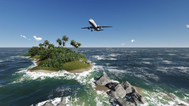 Avión de pasajeros que pasa sobre las palmeras ilustración del vector
