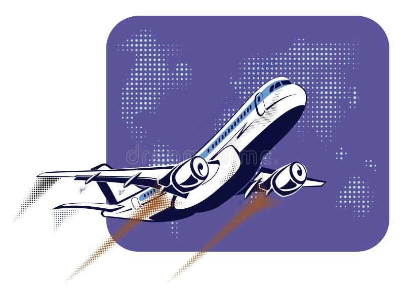 Avión de pasajeros que saca en el fondo del mapa del mundo abstracto en estilo retro del arte pop El concepto de viaje y ilustración del vector
